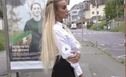 NEW SERIES NEVER SEEN BEFORE ! Stunning Blonde in Business Set Teasing Men on Bus – Episode 1