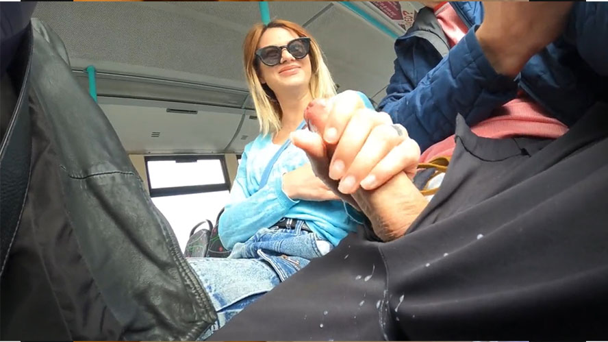 Handjob on the bus